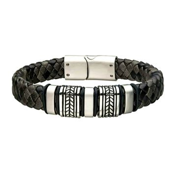 316L Stainless Steel in Antique Black Braided Leather Men's Bracelet 8""