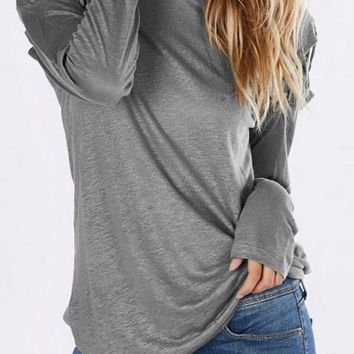 Grey Cut Out Round Neck Long Sleeve Casual T-Shirt