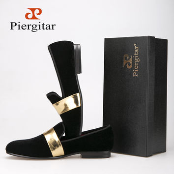 New style Handmade Men velvet shoes with Gold Patent Leather Buckle Fashion Party and wedding men dress shoes men's flats