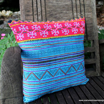"Bright Blue and Pink 16"" Ethnic Hmong Embroidery Decorative Throw Pillow Cushion Cover"