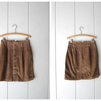 Brown Corduroy Mini Skirt 90s High Waist Cotton Rib Skirt Basic Hipster Skirt 1990s Vintage Minimal Preppy Skirt Womens 10 Medium