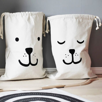 Brand Design Large Canvas Storage Bags Cute Batman Bear Pattern Laundry Home Furnishing Toy Hanging Drawstring Bag Wall Pocket