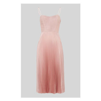Satin Pleated Strappy Dress