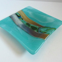 Fused Glass Dish in Turquoise, Aqua and Brown