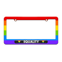 Equality Gay Lesbian Rights - License Plate Tag Frame - Rainbow Design