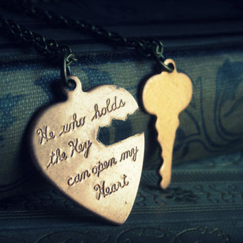 He Holds The Key ... couples necklace set vintage heart and key cut out copper brass gyspy boho chic bohemian steampunk gothic vamp