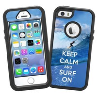 """Keep Calm and Surf On """"Protective Decal Skin"""" for OtterBox Defender iPhone 5s Case"""