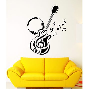 Vinyl Wall Decal Guitar Music Headphones Notes For Musician Stickers (2924ig)