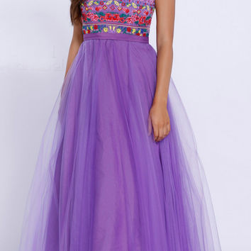 Purple Embroidered A-Line Prom Gown with Tulle Overlay Sleeveless