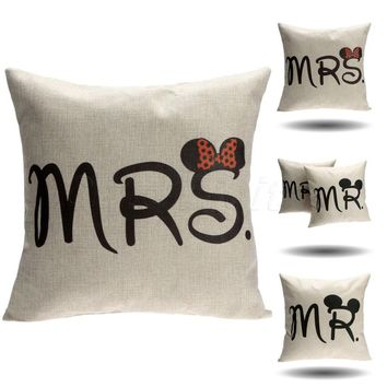 Mr & Mrs Mickey Mouse  Cushion Cover Cotton Linen PILLOWCASE sofa Waist Throw Couch Car