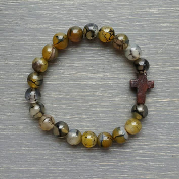 Dragon Vein Agate Gemstone Beaded Cross Bracelet - Mahogany cross, men's bracelet