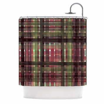 "Ebi Emporium ""PLAID FOR YOU, PINK GREEN"" Pink Green Stripes Pattern Mixed Media Painting Shower Curtain"