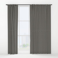 Black and White Hexagon Diamond Pattern Window Curtains by Sheila Wenzel