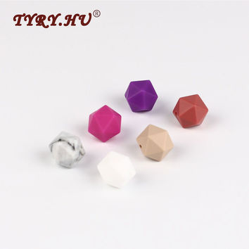 TYRY.HU Icosahedron Beads 50pc Silicone Beads Baby Teethers Geometric Beads For Jewelry Make Teething Necklace Pendant Pacifiers
