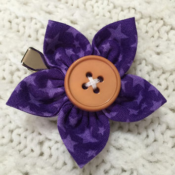Purple Stars Fabric Flower Hair Clip