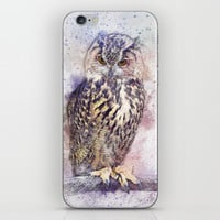 Owl art iPhone Skin by Knm Designs