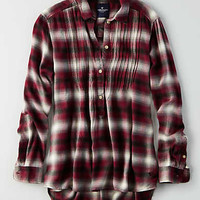 AEO Plaid Popover Shirt, Red