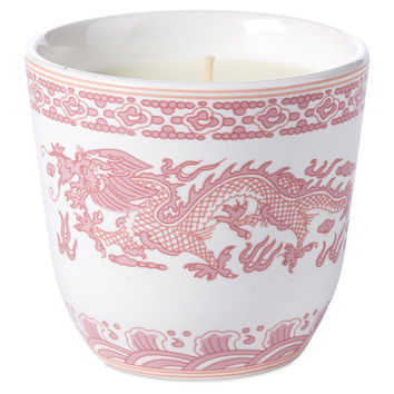 Pink Dragon Teacup Candle, Tea Roses, Filled Candles