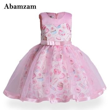 Candy Children Princess Flower Girl Dresses for Wedding Pageant Kids Clothing with Bow Sleeveless Summer Baby Costume Sundress