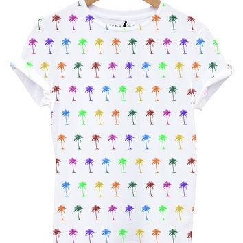 Distinkt Youth Palm Tree All Over Print T shirt