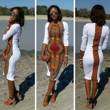 White Tribal Print Long Sleeve Midi Pencil Dress