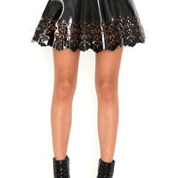 Black Floral Cut Out Pu Skater Skirt