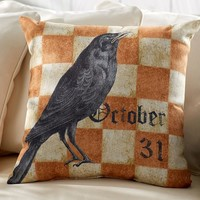 HALLOWEEN CROW INDOOR/OUTDOOR PILLOW
