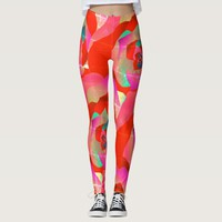 Vibrant red pink green abstract rose leggings