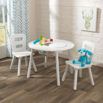 KidKraft Kids Round Table and 2 Chairs Set White