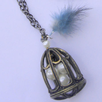 Necklace. Bird cage pendant necklace. Three bird eggs pendant. Casual necklace. Weareable necklace. Large necklace.