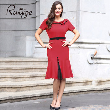 2017 RUIYIGE Vintage 50s 60s Women Bodycon zip Short Sleeve Elegant Dresses Office Formal Retro Mermaid Trumpet Tunic Dress