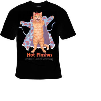 hot cat flashes t-shirt cool funny t-shirts gift present humor tee shirt