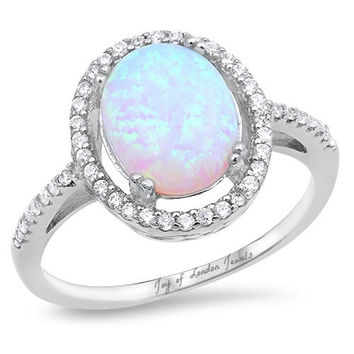 A Perfect Cabochon Australian White Opal Engagement Ring