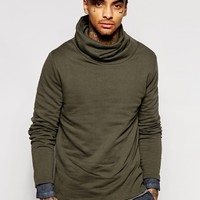 ASOS Funnel Neck Sweatshirt In Khaki