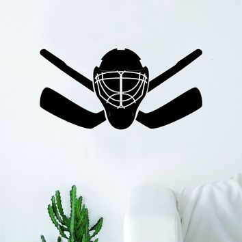 Hockey Goalie Mask Sticks V2 Wall Decal Sticker Vinyl Art Bedroom Room Home Decor Quote Kids Teen Baby Boy Girl Nursery School Fitness Inspirational Ice Skate NHL