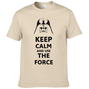 2016 New Star Wars Darth Vader t shirt men shirt Keep Calm and awakens Use THE FORCE emoji tshirt homme funny t shirts boy #025