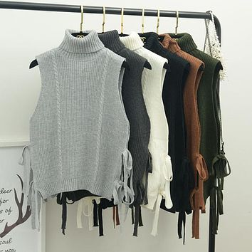 women and winter the new Korean style thick turtleneck bandage loose sleeveless women sweater vest