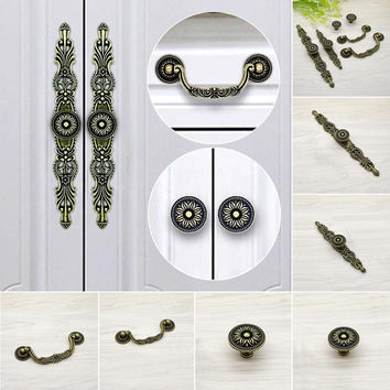 1 Pc Zinc Alloy Vintage Furniture Antique Drawer Knob Kitchen Cabinet Handle Cupboard Pull 6 Styles For Choice