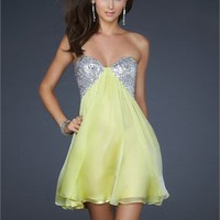 Sexy A-line Strapless with Sequined Bust Open double strap back Chiffon Prom Dress PD1809 Dresses UK
