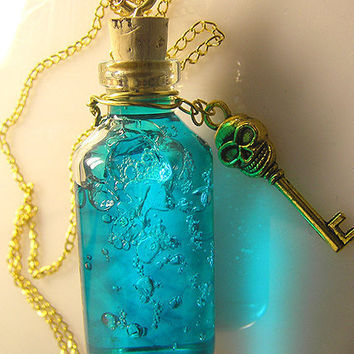 Ocean's Secret - Teal Vial Necklace - Skull Key - Gold - Mermaid