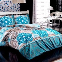 100% Cotton 4pcs Damask Double Size Duvet Cover Set Aqua Blue Theme Bedding Linens