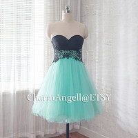 short prom dress, mint formal dress, cocktail dress for teens
