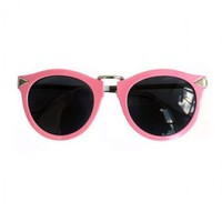 Pink Metal Bridge Round Sunglasses