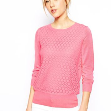 Oasis Lace Front Sweater - Pink