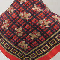 Red, black & gold plaid polyester scarf with teddy bear print - made in Italy  - Free U.S. Shipping