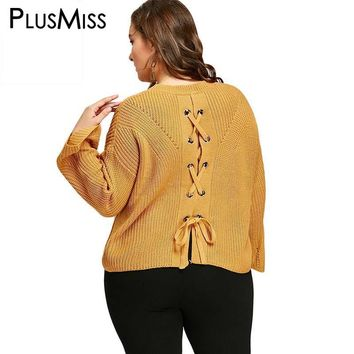 Plus Size Back Lace Up Knitted Pullover Sweater Women Autumn Winter 2017 Yellow Soft Oversized Loose Jumper Warm Pull Femme