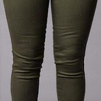 Army Green Nap Zipper Slim Pencil Pants