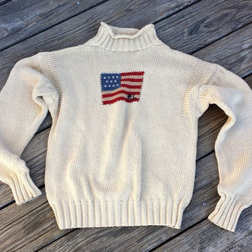 f1e02b006b9fd Vintage RALPH LAUREN American Flag Sweater - Mock Turtleneck - W