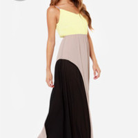 LULUS Exclusive By Your Side Yellow Color Block Maxi Dress