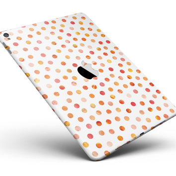"Orange Watercolor Dots over White Full Body Skin for the iPad Pro (12.9"" or 9.7"" available)"